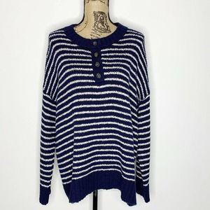 American Eagle Striped Jegging Fit Sweater Blue L